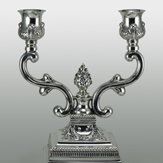 Silver two candle candelabra, chased engraved finish, suitable for wedding gifts. specialised refurbishment service on requirement.