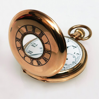 Gentleman's 18ct gold, Full Hunter pocket watch, specialised in servicing and cleaning movements